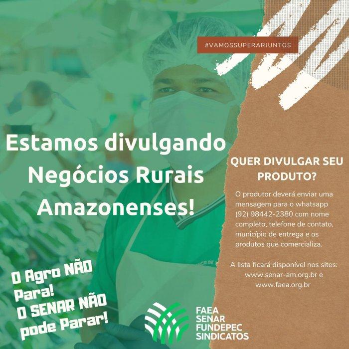 Sistema FAEA SENAR FUNDEPEC-AM divulga lista de negócios rurais amazonenses