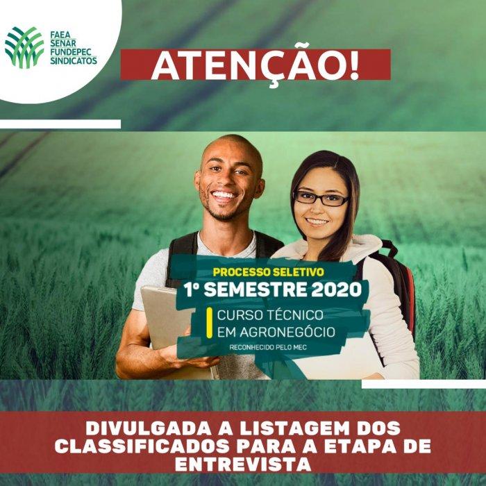 SENAR-AM divulga lista de classificados para etapa de entrevista para o processo seletivo do curso Técnico em Agronegócio