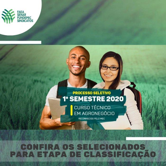 Confira a lista de candidatos selecionados para a etapa de classificação do Curso Técnico em Agronegócio do Senar e Rede e-Tec