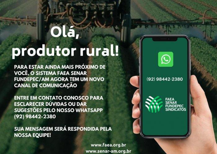 Sistema FAEA SENAR FUNDEPEC/AM lança atendimento via whatsapp